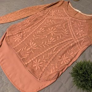Beautiful Lace and chiffon sweater material.